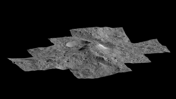 NASA's Dawn spacecraft produced this side-perspective view of the mountain Ahuna Mons on Ceres.