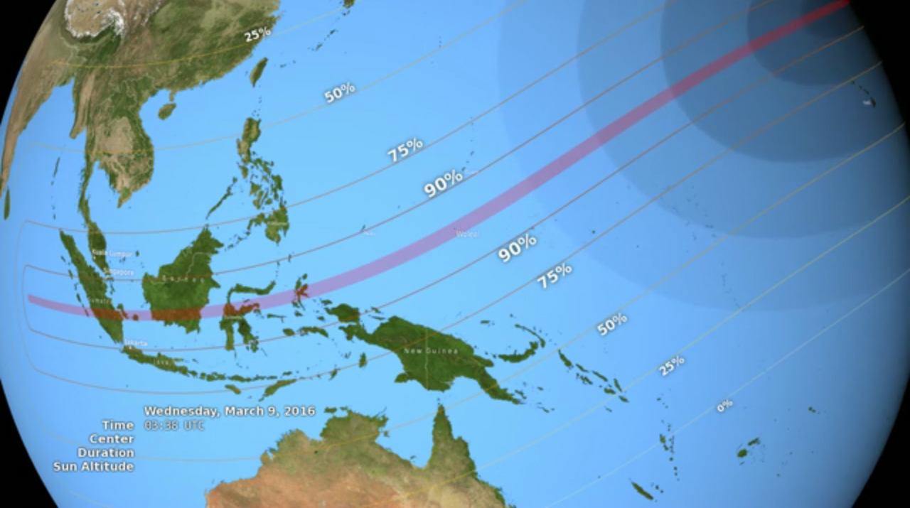 This NASA graphic shows the visibility ranges for the total solar eclipse of 2016 over parts of southeast Asia on March 9, 2016. The red bar in the center denotes the path of totality, where the full eclipse is visible.