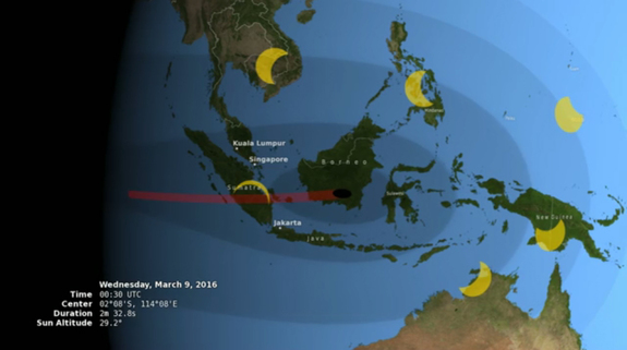This NASA graphic shows how much of the sun will be covered by the moon for parts of southeast Asia on March 9, 2016 during a total solar eclipse. Shown here is a total solar eclipse for southern Borneo at 0030 GMT, while nearby regions see a partial eclipse.