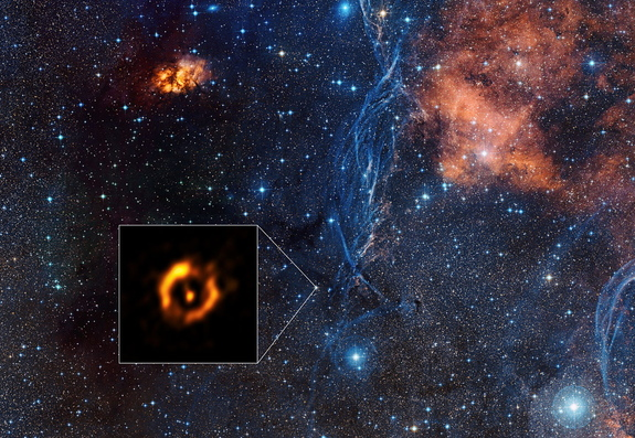 An image shows the dusty disc around the close pair of aging stars IRAS 08544-4431.