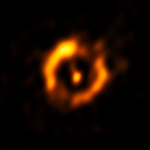 The Very Large Telescope Interferometer at ESO's Paranal Observatory in Chile obtained the sharpest view to date of the dusty disc around the pair of aging stars IRAS 08544-4431.