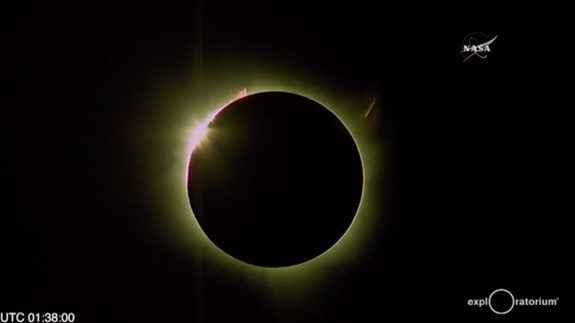 The total solar eclipse of 2016 reaches totality in this still image from a NASA webcast on March 8, 2016 from Woleai Island in Micronesia, where it was March 9 local time during the eclipse.