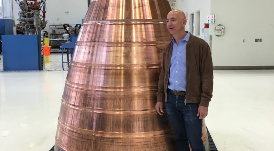 Bezos with BE-4 Engine Nozzle