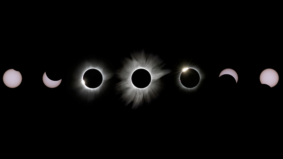 Justin Ng led a group of eight first-time eclipse photographers when he captured the images for this eclipse collage early on March 9 in Palu, Indonesia. He took the photos with a Canon 7D at 400mm with a DIY solar filter.
