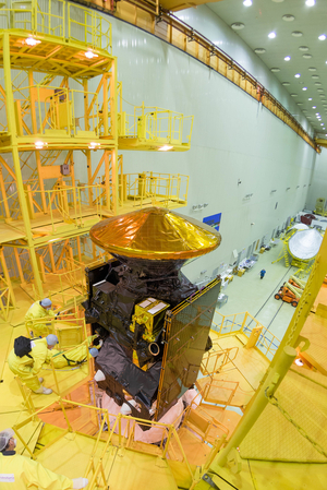 ExoMars 2016 spacecraft composite underwent encapsulation within the launcher fairing at the Baikonur Cosmodrome in Kazakhstan on March 2, 2016.
