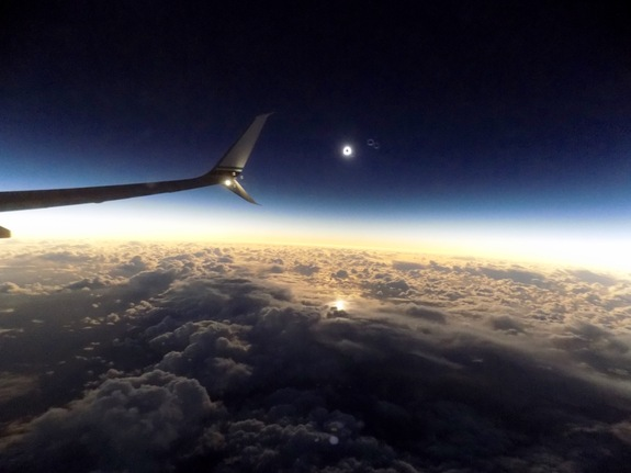 The total solar eclipse of March 8, 2016, as seen by Space.com skywatching columnist and other passengers aboard Alaska Airlines Flight 870 from Alaska to Hawaii.