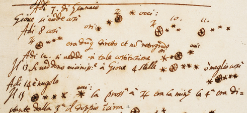 In Galileo's own hand, here are his first drawings of Jupiter and its moons from January 7 to 15, 1610.