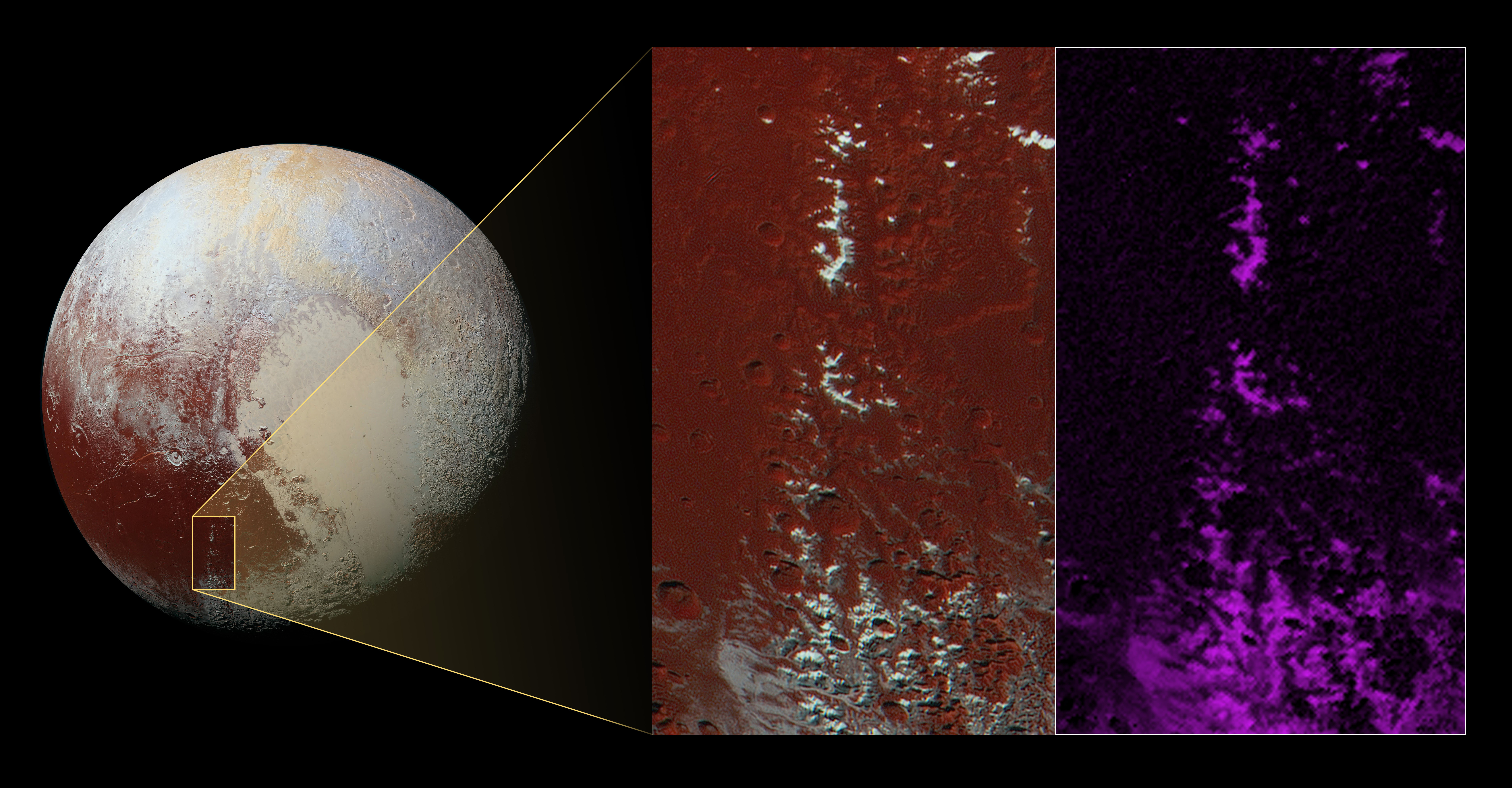 Methane Snow on Pluto's Mountains
