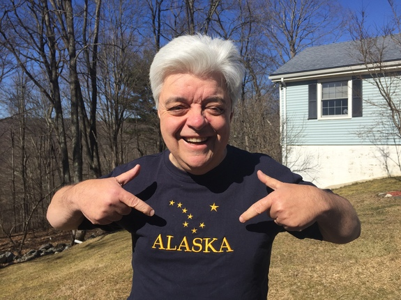 Space.com skywatching columnist Joe Rao models a T-shirt showing the Alaskan flag's stellar design.