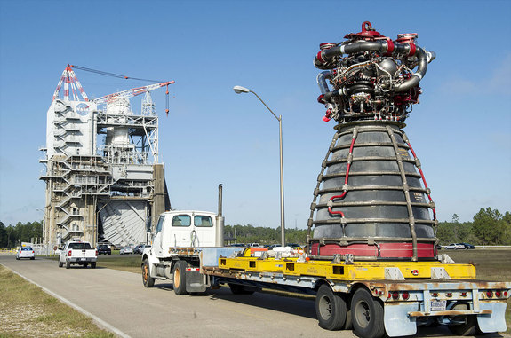 The RS-25 engine No. 2059 arrives at the A-1 Test Stand at NASA's Stennis Space Center on Nov. 4, 2015. The engine was test fired on March 10, 2016.
