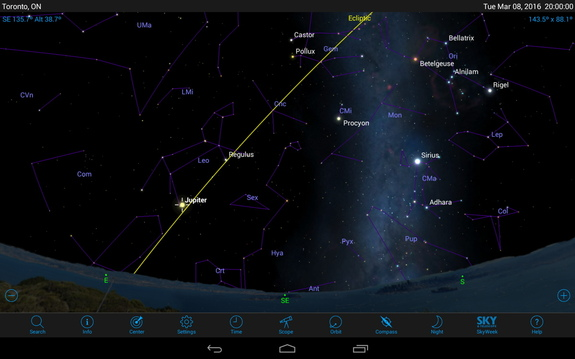 Planets are always found near the Ecliptic, the imaginary line shown in yellow that marks the plane of our solar system.