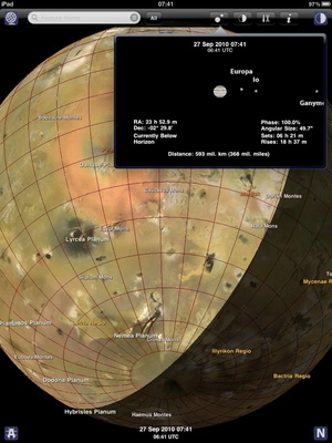 Using the Jupiter Atlas app for iOS, explore the surfaces of Jupiter's Galilean moons and the arrangement of the Jupiter system on any time and date.