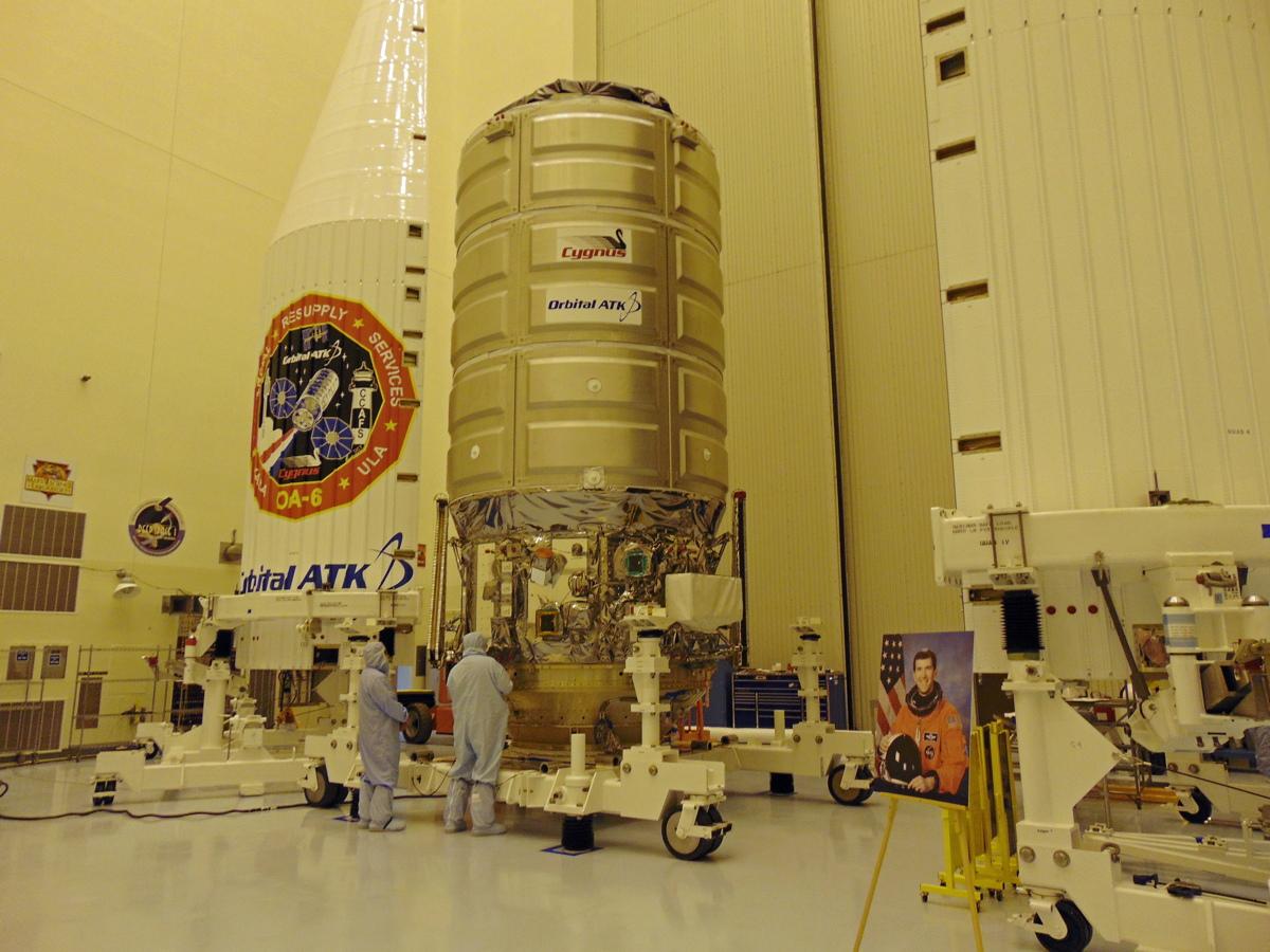 Cygnus Capsule in Kennedy Space Center Clean Room