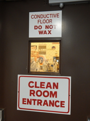 The entrance to the Kennedy Space Center clean room where engineers work to prepare the Cygnus supply spacecraft for flight.