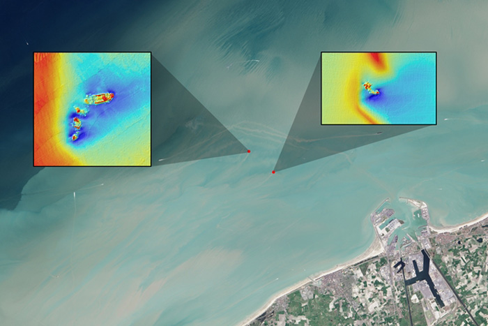 Satellite images of shipwrecks
