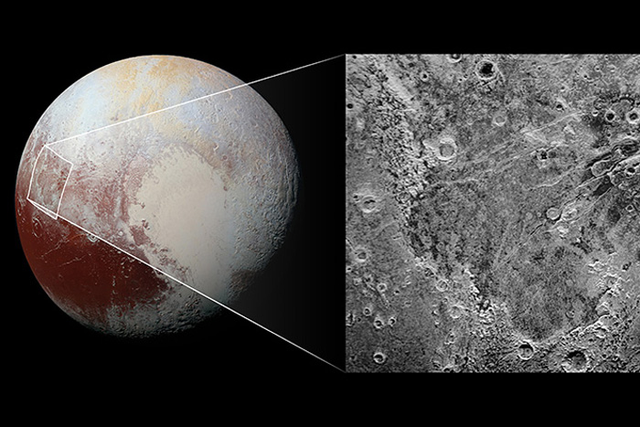 Pluto with closeup