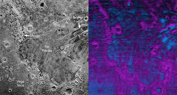 Compositional data from the New Horizons spacecraft's Ralph/Linear Etalon Imaging Spectral Array (LEISA) instrument, shown in the right inset, indicate that the plateau uplands south of Piri Rupes are rich in methane ice (shown in false color as purple). Scientists speculate that sublimation of methane may be causing the plateau material to erode along the face of the cliffs, causing them to retreat south and leave the plains of Piri Planitia in their wake.