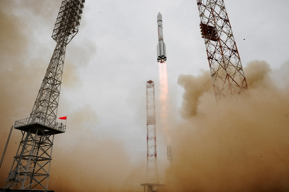 A Russian Proton rocket launches the European Space Agency's ExoMars 2016 orbiter and lander into space from Baikonur Cosmodrome, Kazakhstan on March 14, 2016.
