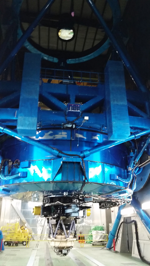 The eyepiece (bottom) of the massive Subaru telescope.