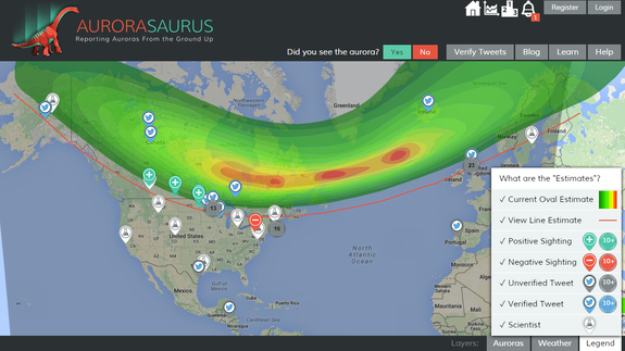 A screenshot of the Aurorasaurus map showing a storm from March 6, 2016. The green, yellow and red areas show the current oval estimate. Green plus signs mean positive sightings; blue Twitter icons indicate verified tweets.