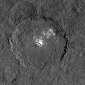 A close-up view of a strange bright spot in Occator crater on the dwarf planet Ceres, as seen by NASA's Dawn spacecraft. Observations of from ground-based telescopes suggest the spots undergo daily changes.