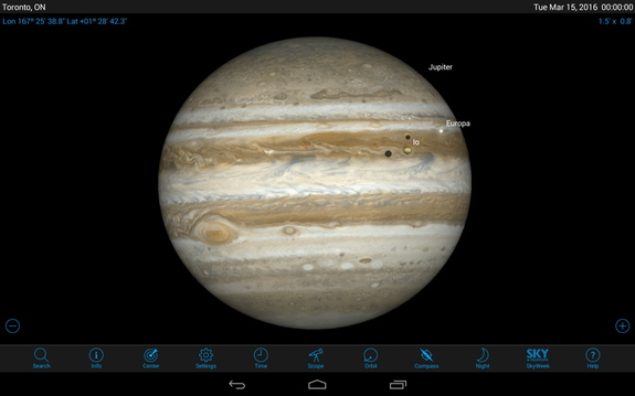 Most stargazing apps will show you an image of Jupiter, but to present the Great Red Spot correctly, they must take into account light-travel time to ensure accurate timing information. Late on Tuesday, March 15, 2016, the moons Io and Europa will cast their black shadows on the planet, and the Great Red Spot follows behind them.