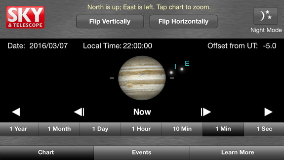 The JupiterMoons app for iOS shows the correct arrangements of the moons and the planet at any date and time, and allows you to flip the view to match your telescope. Night mode turns the screen red to preserve your dark adaptation.