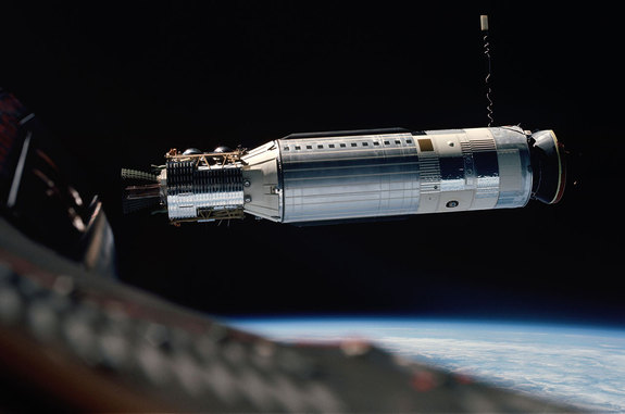 Agena docking target vehicle as seen from Gemini 8 before the mission's historic docking on March 16, 1966.