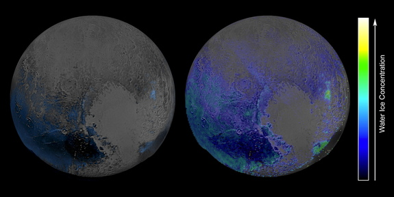 These maps of water ice on Pluto's surface were created using measurements made by NASA's New Horizons spacecraft during its July 2015 flyby of the dwarf planet. The map at left is an early effort; the one at right used modeling techniques to achieve greater sensitivity.