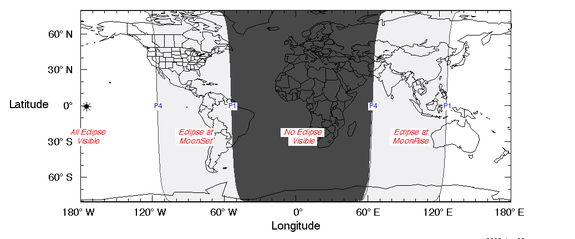 This visibility chart of the March 23, 2016 penumbral lunar eclipse shows the regions from which the lunar eclipse will be visible, weather permitting.