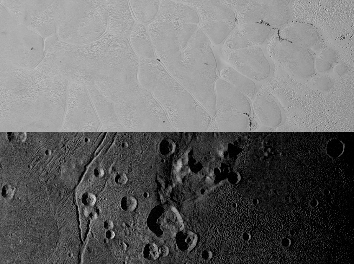 Sputnik Planum on Pluto and Vulcan Planum on Charon