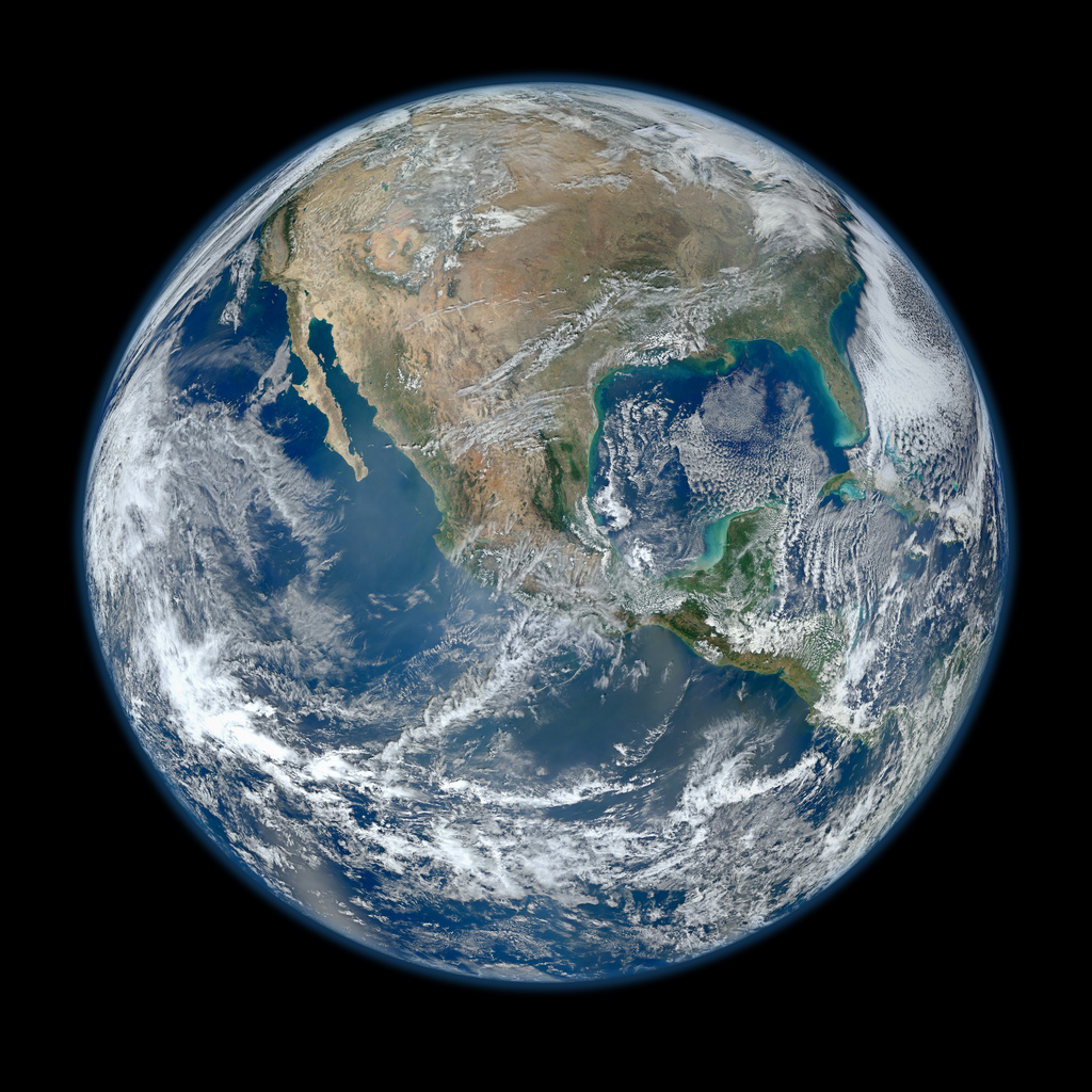 A view of Earth from space as seen by NASA's NPP Suomi satellite as seen in January 2012.