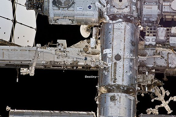 This NASA image shows the location on the International Space Station where the new Meteor Composition Determination experiment will be mounted in the Destiny module's Window Observational Research Facility.