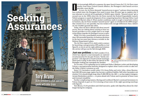 Interview with ULA chief executive Tory Bruno from the March 14 issue of the SpaceNews magazine. - See more at: http://spacenews.com/ula-chief-disavows-his-head-engineers-take-on-vulcan-engine-competition/#sthash.fSj7l4yH.dpuf