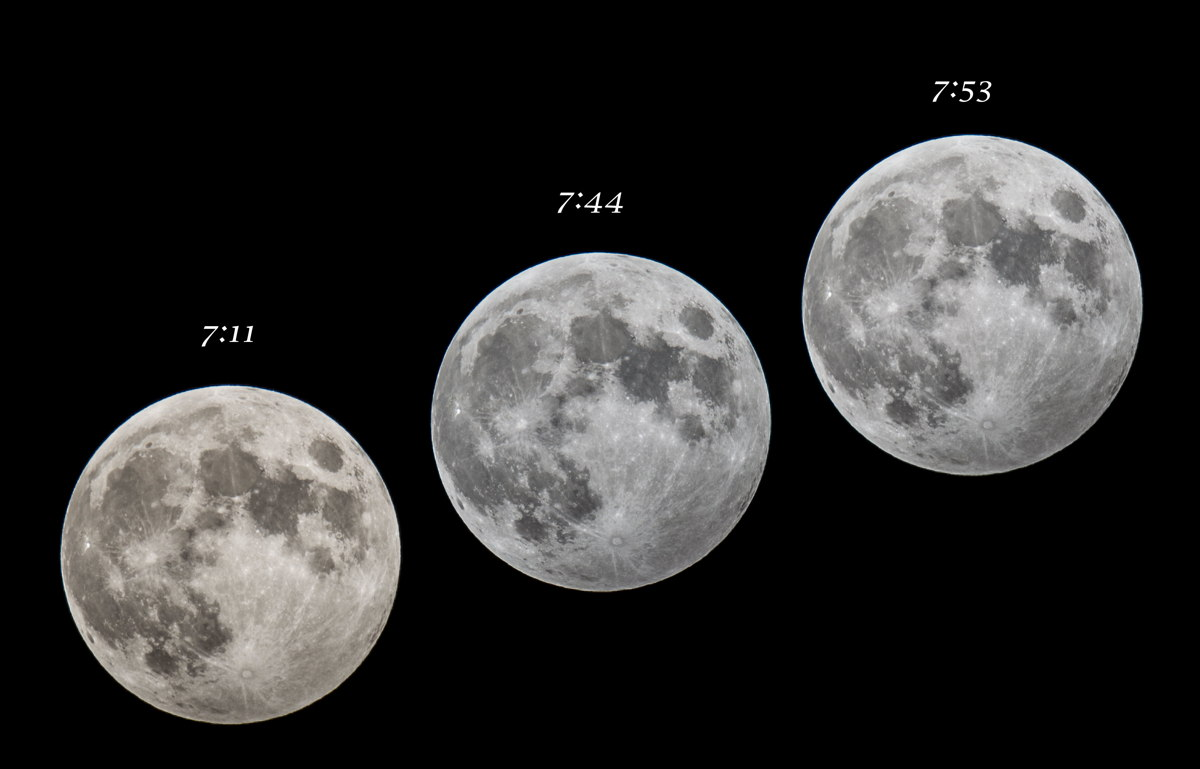 Astrophotographer David Peller captured these three views of a minor penumbral lunar eclipse from Worcester, Mass. on Oct. 18, 2013. Another penumbral lunar eclipse will occur early Wednesday, before sunrise, on March 23, 2016.