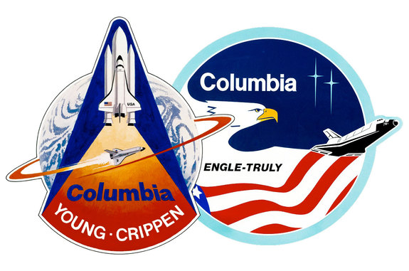 Space shuttle Columbia STS-1 and STS-2 mission insignia.