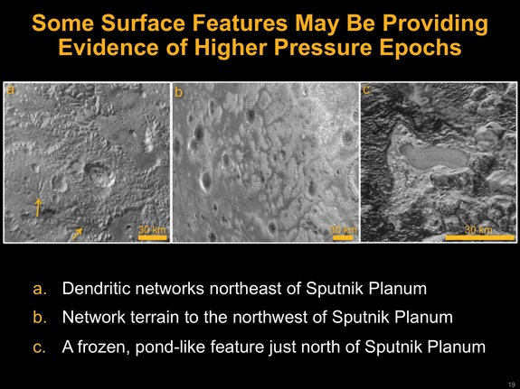 A frozen pondlike feature just north of Sputnik Planum (right) could have once been liquid nitrogen, when Pluto boasted a thicker atmosphere in the past.