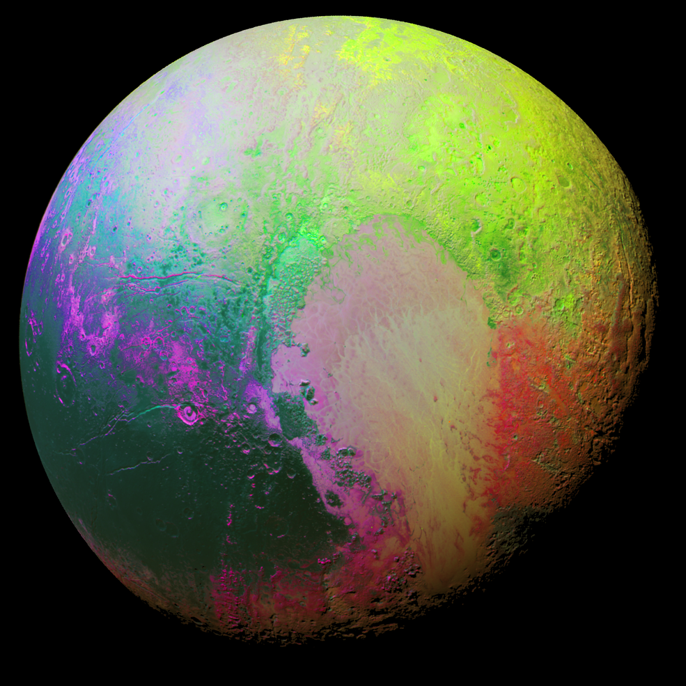 Pluto Regions Enhanced Color