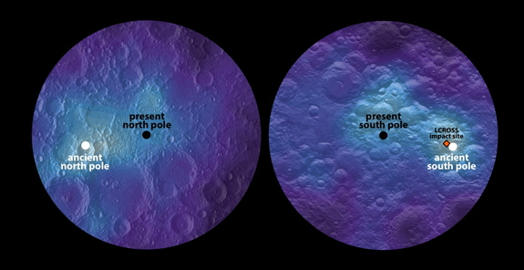Maps of lunar hydrogen (a proxy for water ice), as measured by NASA's Lunar Prospector spacecraft poleward of 80 degrees N/S. The hydrogen-abundance maxima (white dots) are offset significantly from the present north and south poles, and are inferred to be ancient lunar-spin poles.