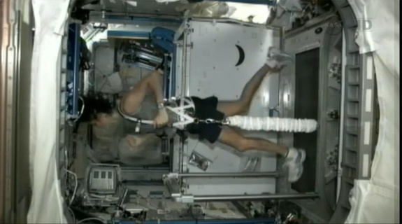 Sunita Williams runs a marathon in space.