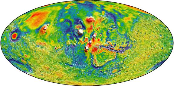 This global map of the gravity or Mars is the best one yet made and was created from 16 years' worth of data from three NASA orbiters around the Red Planet. This map shows the Thasis volcanoes of Mars, where white areas denote higher-gravity areas and blue denotes lower-gravity regions.