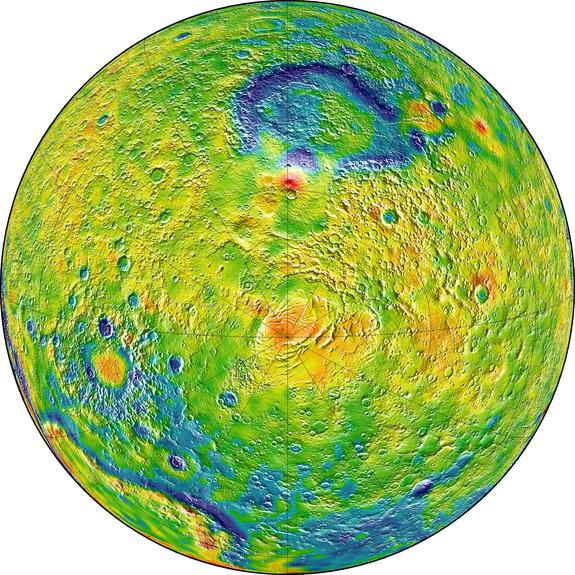 Ths map of Martian gravity shows the south pole of the Red Planet (center). White and red colors denote areas of higher gravity. Blue regions indicate areas of lower gravity.