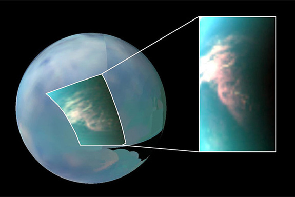 Titan has very active weather, as shown by this infrared image of clouds near the south pole. Image taken by the Cassini spacecraft.