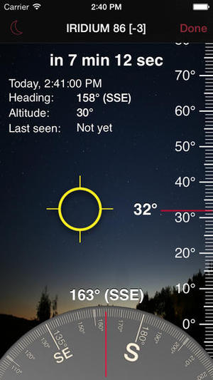 The iFlares app for iOS displays a compass and elevation scale on screen, as well as cursors that guide you to orient the device in the direction in which the flash will occur