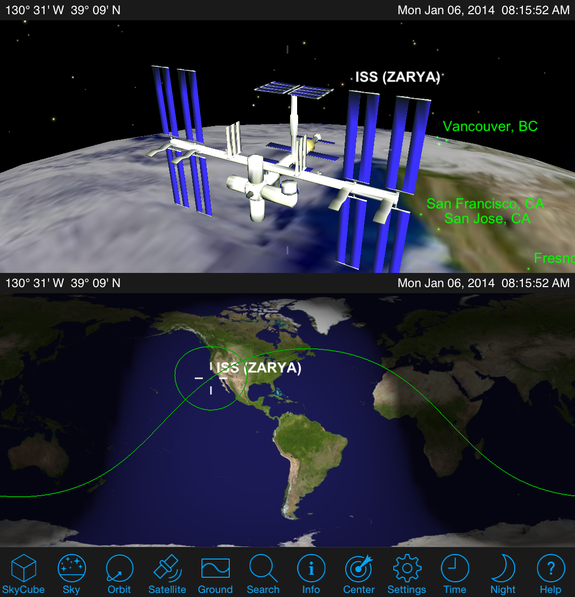 "Satellite Safari shows a ""mission control"" view of your satellite's orbit using a 2D map of the world."