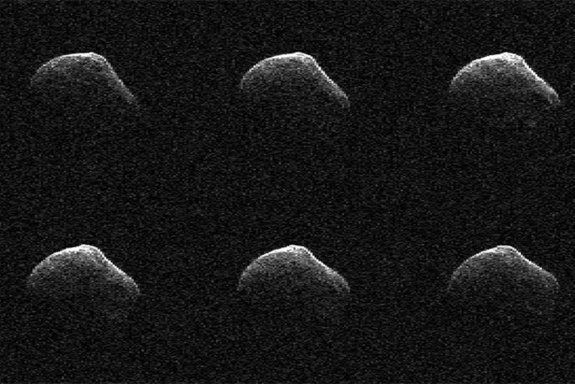 These radar images of comet P/2016 BA14 were taken on March 23, 2016, by scientists using an antenna of NASA's Deep Space Network at Goldstone, Calif. At the time, the comet was about 2.2 million miles (3.6 million kilometers) from Earth.