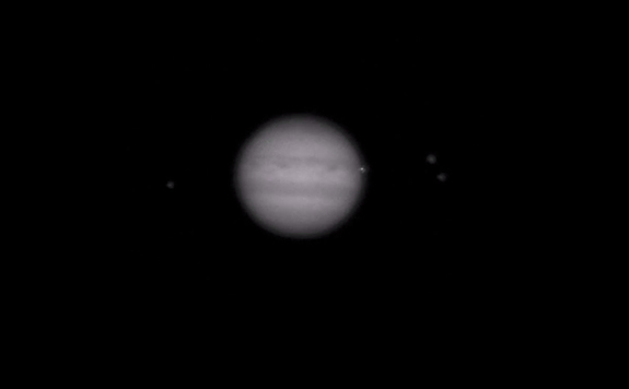 Another view of the bright impact flash on Jupiter (right side of planet), as seen by amateur astronomer John McKeon of Swords, Ireland, is seen in this still from a video captured through a telescope on March 17, 2016.