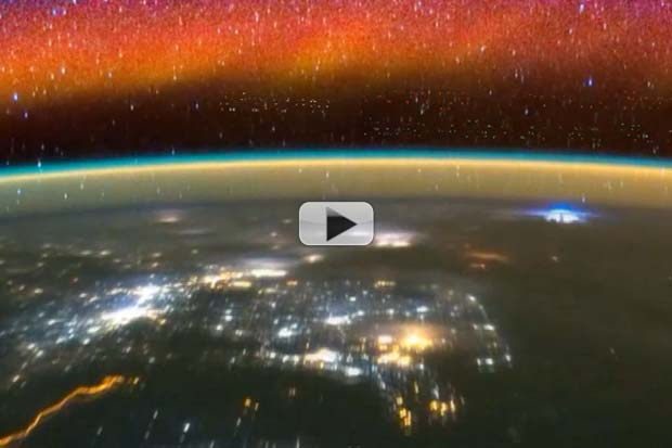 Space Station Skims A Sea of Airglow, Star-fire and Lightning | Video