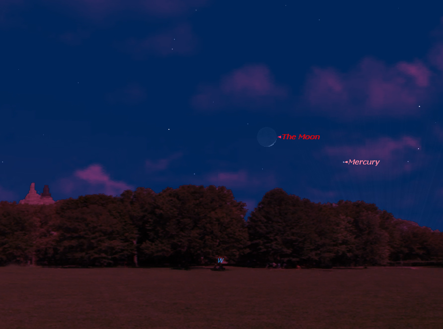 The planet Mercury will shine near the crescent moon in the western sky just after sunset on Friday, April 8, 2016. Here's the view at 8 p.m. local time from mid-northern latitudes.