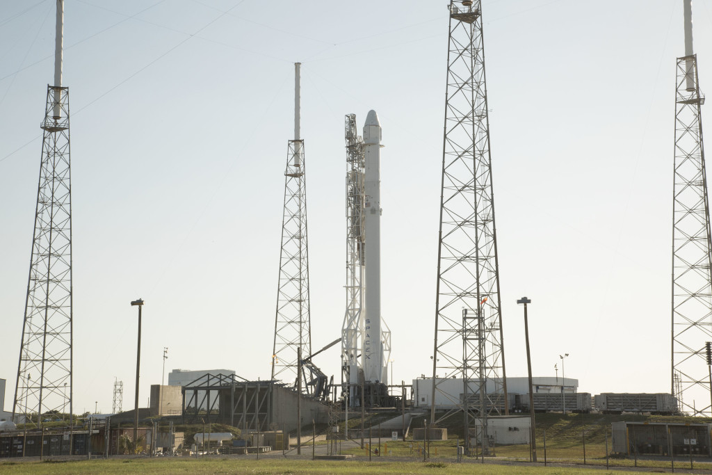 Falcon 9 and Dragon on the Pad